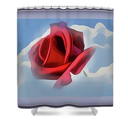 Beautiful Red Rose Cuddled By Cumulus Shower Curtain