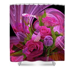 Beautiful Rose Bouquet Montage Shower Curtain