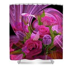 Beautiful Rose Bouquet Montage Shower Curtain