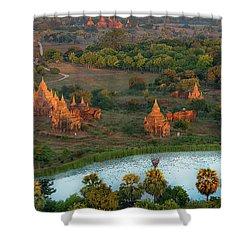 Shower Curtain featuring the photograph Beautiful Sunrise In Bagan by Pradeep Raja Prints