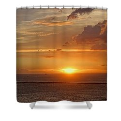 Shower Curtain featuring the photograph Beautiful Sunset At Kaohsiung Harbor by Yali Shi