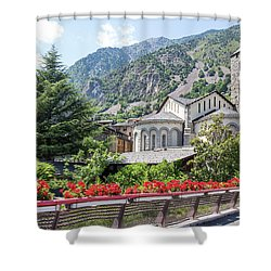 Beautiful View Of Andorra La Vella Shower Curtain by GoodMood Art