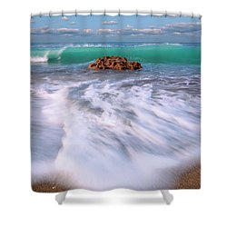 Beautiful Waves Under Full Moon At Coral Cove Beach In Jupiter, Florida Shower Curtain by Justin Kelefas