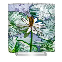 Beautiful White Water Lilies Flower Shower Curtain by Lanjee Chee