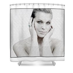 Beautiful Woman Holding Her Head Up Shower Curtain