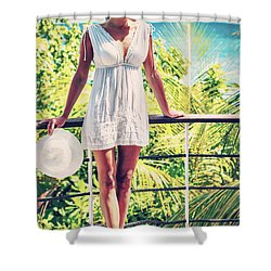 Beautiful Woman In The Beach House Shower Curtain