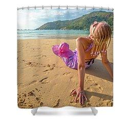 Beautiful Woman Sunbathing On Beach Shower Curtain