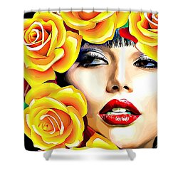 Beautiful Woman Yellow Roses Pop Art Shower Curtain