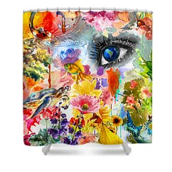 Beautiful World Shower Curtain by Elizabeth Coats