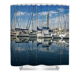 Beautiful Yachts Moored In The Marina Shower Curtain