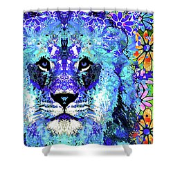 Shower Curtain featuring the painting Beauty And The Beast - Lion Art - Sharon Cummings by Sharon Cummings