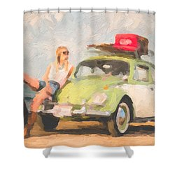 Shower Curtain featuring the digital art Beauty And The Beetle - Road Trip No.1 by Serge Averbukh