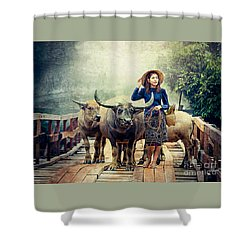 Beauty And The Water Buffalo Shower Curtain