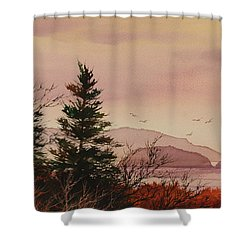 Shower Curtain featuring the painting Beauty At The Shore by James Williamson