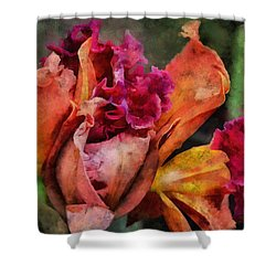 Shower Curtain featuring the mixed media Beauty Of An Orchid by Trish Tritz