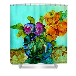 Shower Curtain featuring the painting Beauty Of Flowers by Priti Lathia