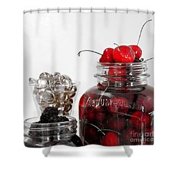 Beauty Of Red Cherries Shower Curtain by Sherry Hallemeier
