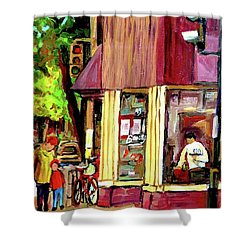 Beautys Luncheonette Montreal Diner Shower Curtain by Carole Spandau