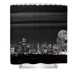 Beaver Moonrise In B And W Shower Curtain