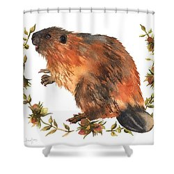Beaver Painting Shower Curtain by Alison Fennell
