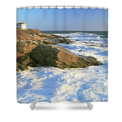 Beavertail Point And Lighthouse  Shower Curtain