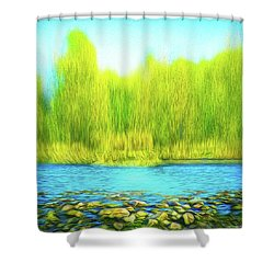Beckoning Woods Shower Curtain