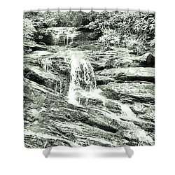 Becky Branch Falls In Green Monochrome Shower Curtain