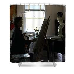 Shower Curtain featuring the painting Becky Painting Chopin by Becky Kim