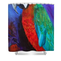 Becky The Macaw Shower Curtain by Jenny Lee