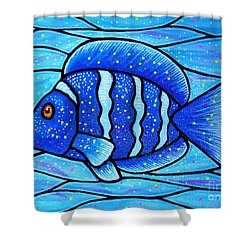 Shower Curtain featuring the painting Beckys Blue Tropical Fish by Jim Harris