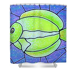 Shower Curtain featuring the painting Beckys Yellow Tropical Fish by Jim Harris