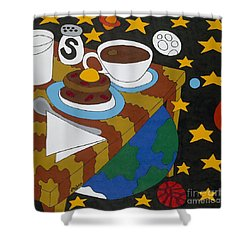 Bed And Breakfast Shower Curtain by Rojax Art