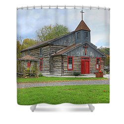 Shower Curtain featuring the digital art Bedford Village Church by Sharon Batdorf