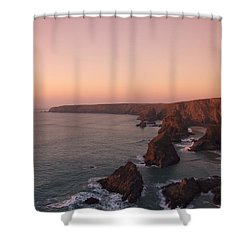 Bedruthan Steps Sunset Shower Curtain by Helen Northcott