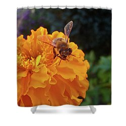 Bee And Marigold Shower Curtain