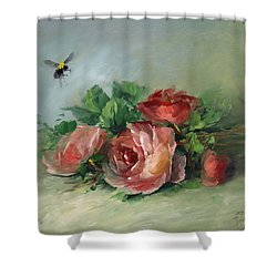Bee And Roses On A Table Shower Curtain by David Jansen