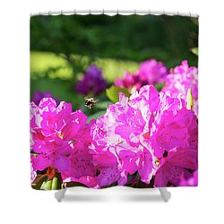 Bee Flying Over Catawba Rhododendron Shower Curtain