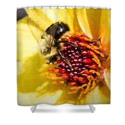 Bee Good Shower Curtain by Cathy Donohoue