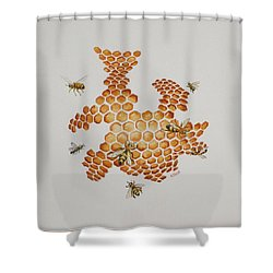 Shower Curtain featuring the painting Bee Hive # 1 by Katherine Young-Beck