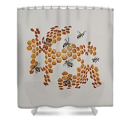 Shower Curtain featuring the painting Bee Hive # 2 by Katherine Young-Beck