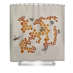 Shower Curtain featuring the painting Bee Hive # 3 by Katherine Young-Beck