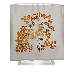 Shower Curtain featuring the painting Bee Hive # 5 by Katherine Young-Beck