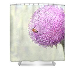 Bee On Giant Thistle Shower Curtain