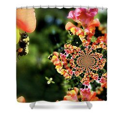 Bee On Snapdragon Flower Abstract Shower Curtain by Smilin Eyes  Treasures