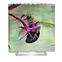 Shower Curtain featuring the painting Bee Still by Wayne Pascall