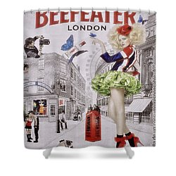 Beefeater Gin Shower Curtain by Mary Machare