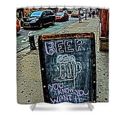 Shower Curtain featuring the photograph Beer Sign by Sandy Moulder