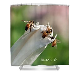 Bees On Angel Trumpet Shower Curtain