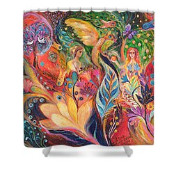 Before The First Sin Shower Curtain by Elena Kotliarker