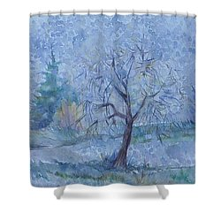 Shower Curtain featuring the painting Begining Of Another Winter by Anna  Duyunova